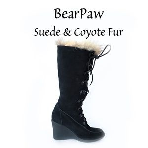 Bearpaw Suede and Coyote fur tall boots